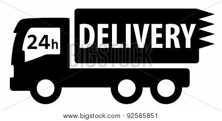 black isolated delivery truck silhouette