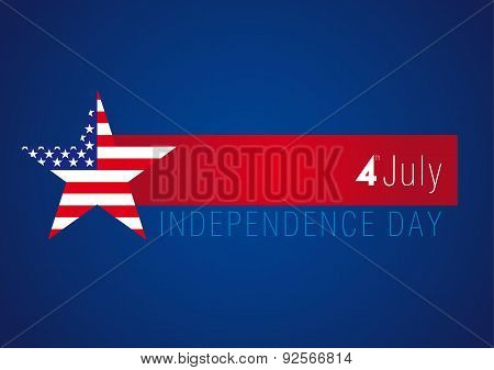 Independence day USA vector card. 4 th of july traditional celebrating greetings, united states national holiday sign with flag print star on blue background.