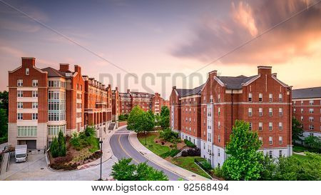 ATHENS, GEORGIA - MAY 10, 2015: Dormitory apartment buildings at the University of Georgia at dusk.