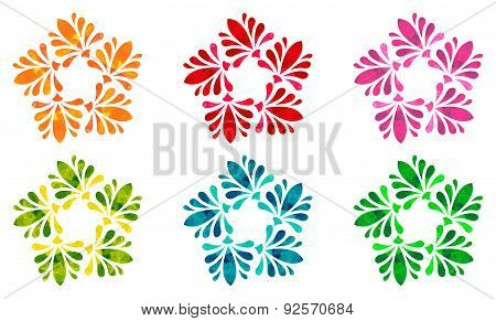 Watercolour pattern - Set of six abstract flowers