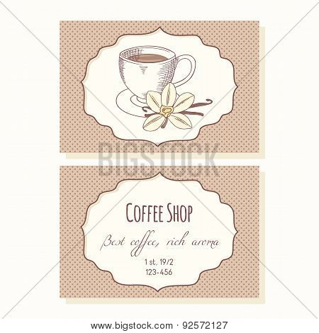 Sketched coffee cup with vanilla flower business cards template