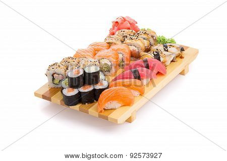 Sushi Set On A Gete Isolated On White Background