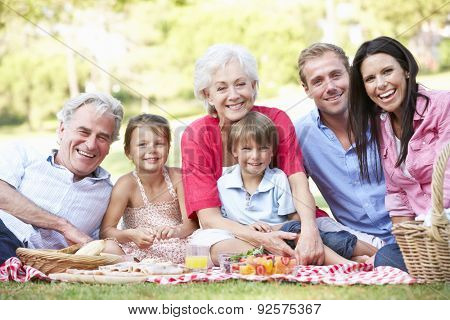 Multi Generation Family Enjoying Picnic Together