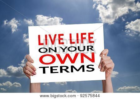 Live Life On Your Own Terms Card With Sky Background
