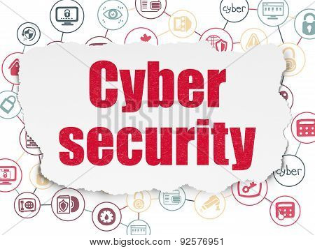 Protection concept: Painted red text Cyber Security on Torn Paper background with Scheme Of Hand Drawn Security Icons, 3d render poster