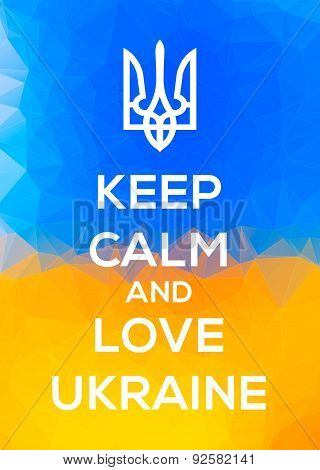 Ukranian Trident Patriotic Keep Calm Illustration