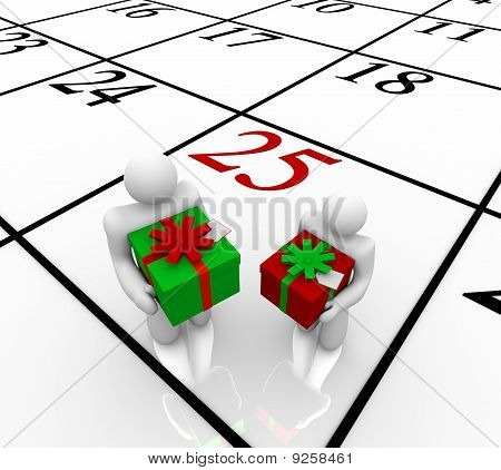 Christmas Calendar -  People Exchanging Gifts