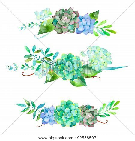 3 beautiful bouquet for your design with hydrangea leaves berries and succulent plants