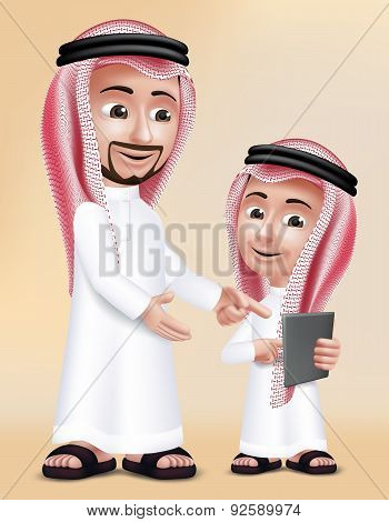 Realistic 3D Arab Teacher Man Character Teaching Boy