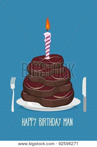 Cake cuts of meat. Happy birthday man. Delicious steaks. Congratulation card. Vector illustration