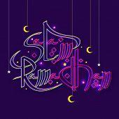 Beautiful greeting card design with stylish shiny text Salam Ramadhan on purple background for Islamic holy month of prayers, Ramadan Kareem celebration.  poster