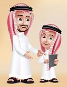 Realistic 3D Arab Teacher Man Character Teaching Boy Student in Mobile Tablet About School Wearing Thobe for Studies. Editable Vector Illustration poster