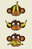 """The three wise monkeys from the proverb """"See no evil, Hear no evil, Speak no evil"""". One monkeys has a banana peel in front of his eyes, one has bananas plugged in his ears and one has his mouth full of bananas. poster"""
