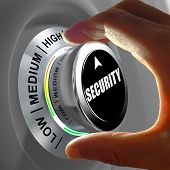 Hand rotating a button and selecting the level of security. This concept illustration is a metaphor for choosing the level of security. Three levels are available: low medium and high. poster