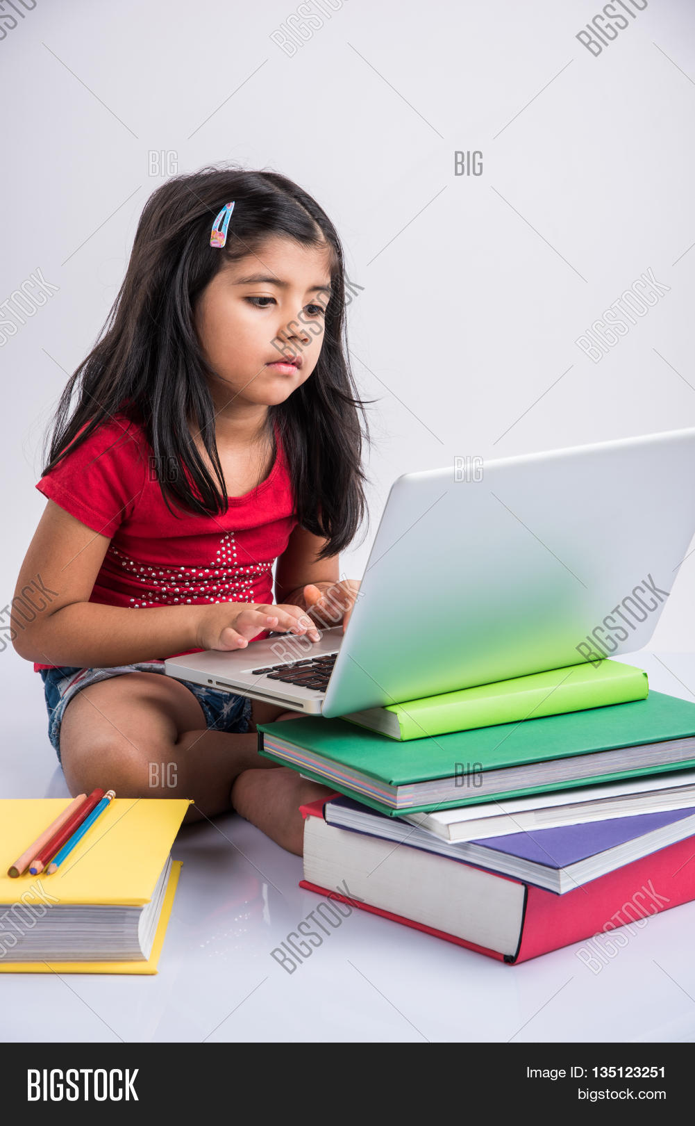 Cute Little Indian Girl Studying On Image  Photo  Bigstock-4466