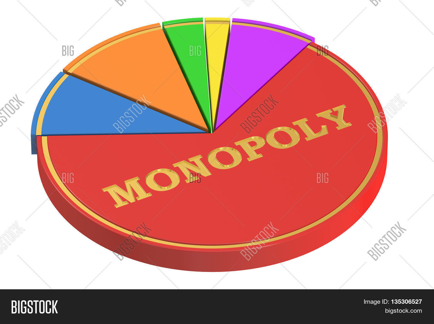 Monopoly concept pie chart 3d image photo bigstock monopoly concept with pie chart 3d rendering isolated on white background nvjuhfo Choice Image