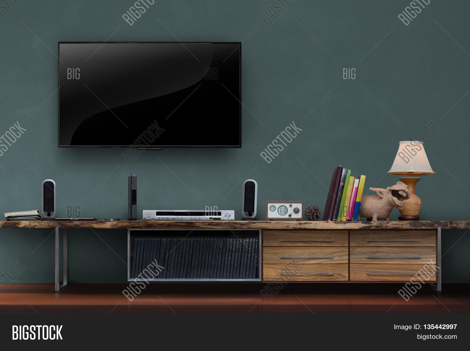 Living Room Led Tv On Image Photo Free Trial Bigstock