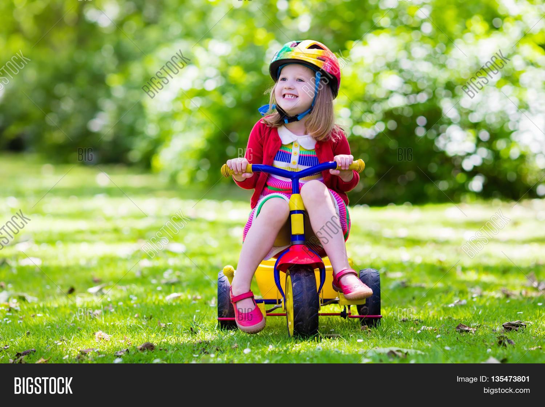 Cute Girl Wearing Safety Helmet Image Amp Photo Bigstock