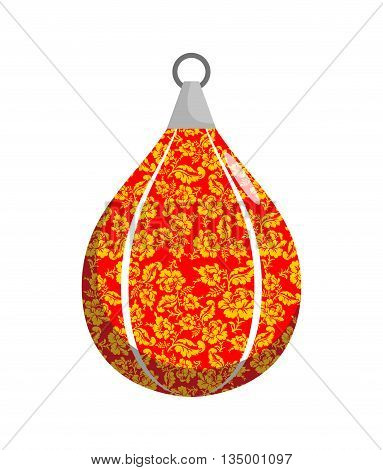 Boxing Pear In Khokhloma Style. Russian Traditional National Floral Pattern. Russia Patriot Sports A