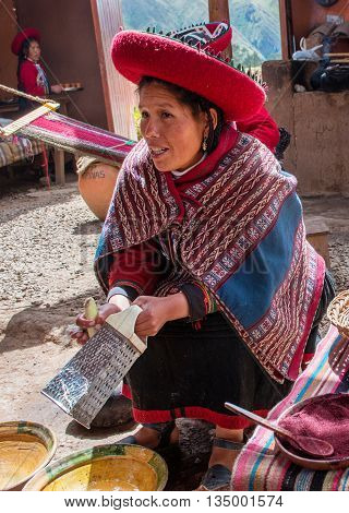 Peruvian Woman In Chinchero