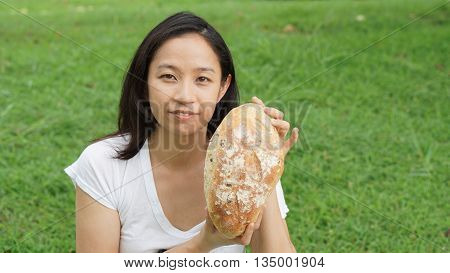 Asian Woman Adult Eating Bread Carbohydrates
