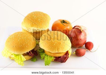 photo of hamburger isolated on white background poster