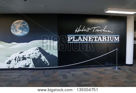 JOLIET, ILLINOIS / UNITED STATES - OCTOBER 25, 2015: The Herbert Trackman Planetarium offers astronomical instruction and entertainment at Joliet Junior College.