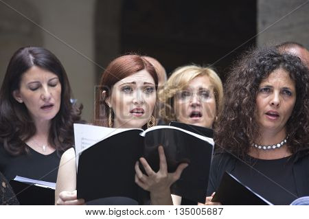 Naples Italy. June 19 2016: Members of the Choir Pietà dei Turchini singing Haendel Halleluja in the St. Martin's Charterhouse a former monastery complex now a museum in Naples southern Italy