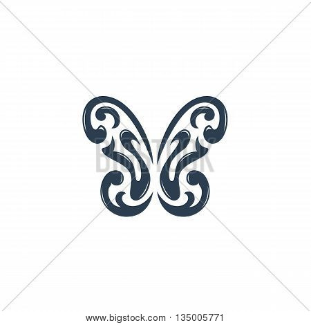 Butterfly logo on white background. Ornament butterfly logo template. Flat design style. Vector illustration - stock vector