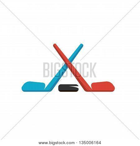 Hockey logo on white background. Hockey logo template. Flat design style. Vector illustration - stock vector
