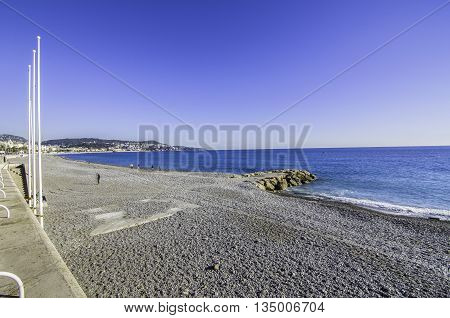 France, Nice, Cote d'Azur - Beach empty in November
