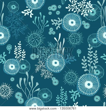 Vector hand drawn seamless pattern with underwater world of seaweeds and jellyfish. Sea reapeat background