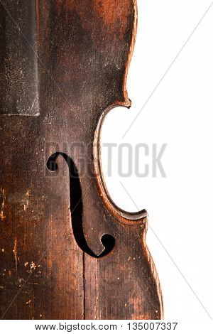 Old broken violin isolated on the white background