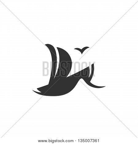 Sailboat logo on white background. Sailboat logo template. Flat design style. Vector illustration - stock vector