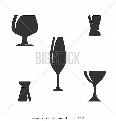 Dinnerware isolated on white background, Vector icons Illustrations of glass, goblet and wineglass - stock vector