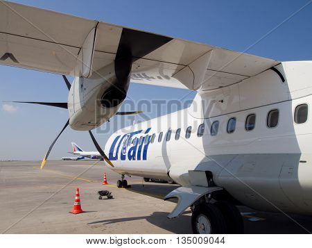 Moscow, Russia - May 18 2013, Detail of aircraft ATR 72 the airline