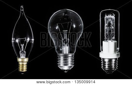 Collage of 3 Edison lamps over black background, macro view