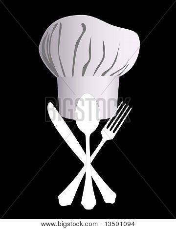 Chef's Hat With A Knife, Spoon And Fork