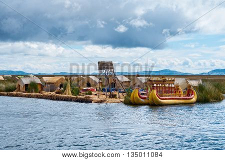 Traditional village on floating islands on lake Titicaca in Peru South America