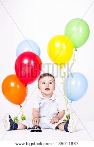 Baby Boy With Bunch Of Balloons