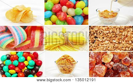 Set of many food ingredients products