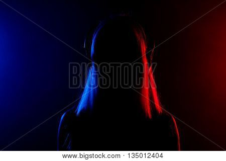 Girl With Headphones Silhouette