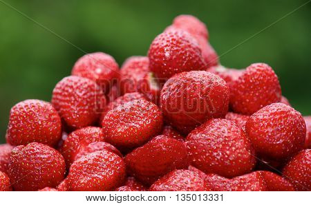 Fresh strawberries with green background, strawberries, seasonal fruits on  spring, red fruits, red berry, summer fruits, summer background, seasonal fruits, vitamins