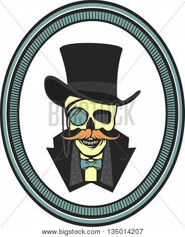 vector illustration of a skull wearing a hat cylinder gentleman vintage emblem framed poster