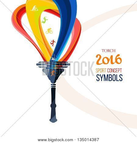 Icon torch.Torch fire, championship icon, symbols sports, icons sports competitions symbol of victory. Isolated vector illustration. 2016 Summer sport.
