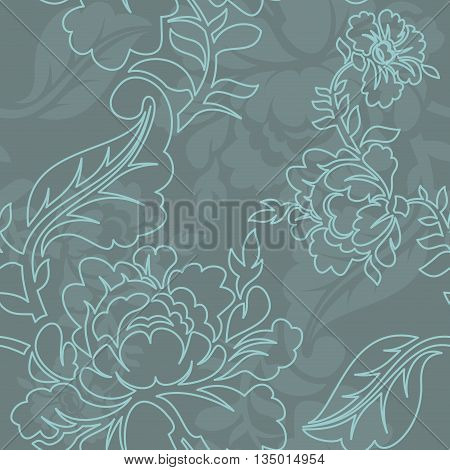 Rose Linear Style Seamless Pattern. Retro Floral Texture. Vintage Flora Ornament