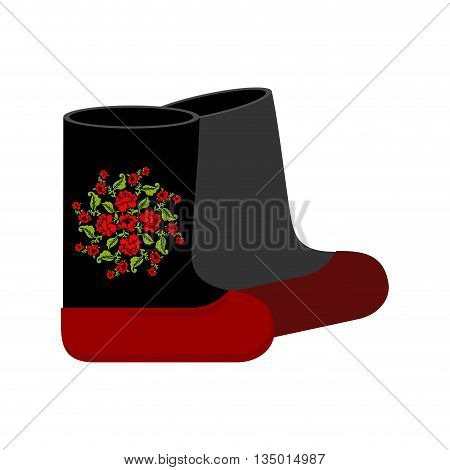 Russian Felt Boots. Traditional Winter Warm Shoes In Russia. National Shoe.