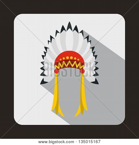 Indian headdress icon in flat style with long shadow. Tribal symbol