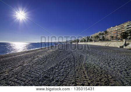 France, Nice, Cote d'Azur - Shot made during a trip in a camper in November 2013; wide angle and long exposure.