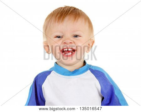 Cheerful Child Portrait Isolated on the White Background